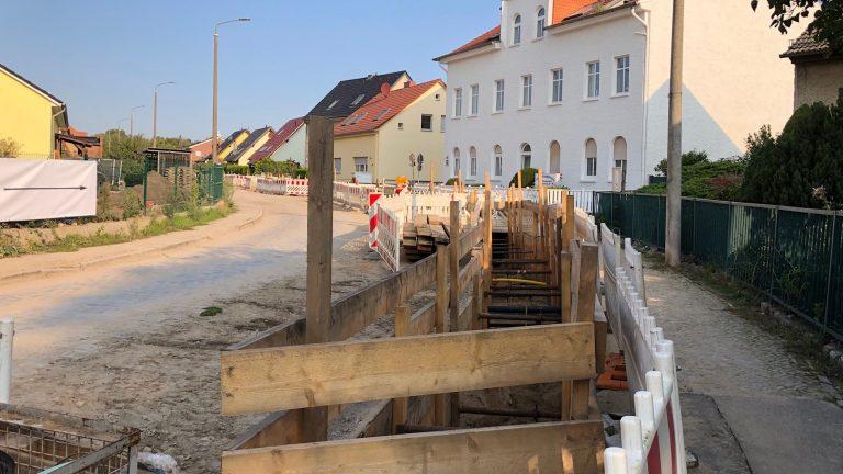 Kanalarbeiten auf der Hauptstraße in Rosenthal im September 2020
